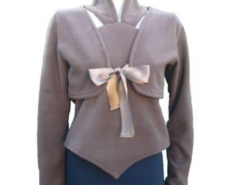 Brown fleece sweater woman-twin set-bolero-backless winter, city brown fleece pullover, brown fleece vest