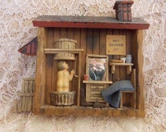 Vintage Wooden Art DIORAMA/Miniatures/Novelty/1970