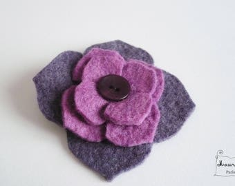 Felt violet/purple hydrangea flower hair clip