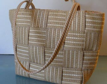 Made in Italy Cappuccino Woven Shoulder Bag