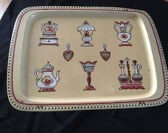 Vintage TV Serving Tray Lap Dinner Stand Metal Vases Lamps Tea Pots