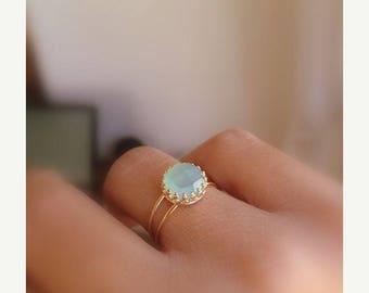 SALE - Aqua chalcedony ring - Aqua blue Chalcedony ring - Gold aqua ring - Gemstone ring - Aqua Mint Gold Ring - mint color ring