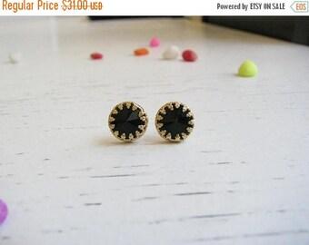 SALE - Black studs - Jet studs, Gold black studs earrings - Black earring - Black silver studs - Gold stud - Black studs earrings - Onyx stu