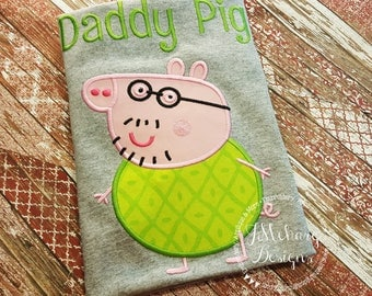 Peppa Pig Daddy Pig Family Birthday Custom Tee Shirt - Customizable -  Infant to Adults 124 lime