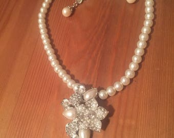 Wedding(bridal) earring and necklace pearl and crystal set