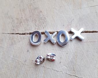 Xoxo earrings, Silver Stud earrings, Xoxo jewelry, Kiss and Hug earrings, Sterling silver earrings, Xx earrings, Oo earrings