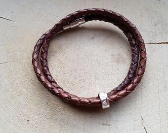 Wrap Bracelet Double Wrap Leather Personalized Leather Boyfriend Gift Girlfriend Gift