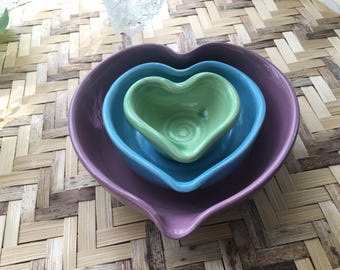 Trio of Nesting Heart Bowls in Lilac Turquoise and Green