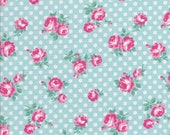Atsuko Matsuyama Fabric - Rose Fabric -  Aqua Fabric - Small Floral Fabric - 30s Collection - Yuwa