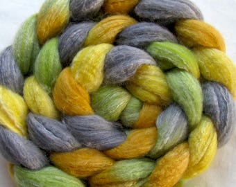 Merino/Bamboo/Silk Spinning Fiber  (Combed Top) 4 oz Hand Painted