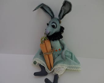 OOAK- Art doll-Primative-Hare - Fabric -Cloth- Doll Artist Cheryl Austin