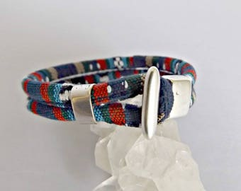 Fabric bracelet, fabric bracelets, boho bracelet, fabric jewelry, colorful bracelet, gift for her, friendship bracelet, boho jewelry, K12002
