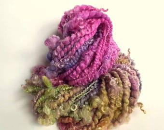 Art yarn, textured wool, chunky handspun, lock yarn, merino and wensleydale yarn, magenta pink, greens and purples, lock yarn, doll hair