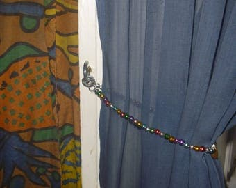 multicoloured beaded curtain tie back for sheer curtains, ecofriendly