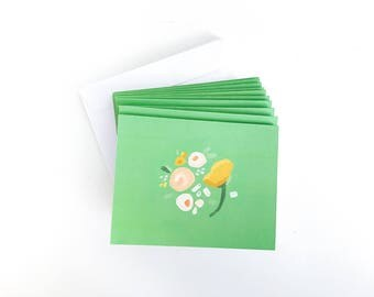 Blank Note Card Set - Painted Florals Note Card Set