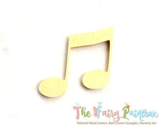 Beamed Note Wood Shape, Musical Nursery Wall Shapes Unpainted Wood, Assorted Sizes, Wood Music Note Photo Prop, Newborn Music Wedding Prop