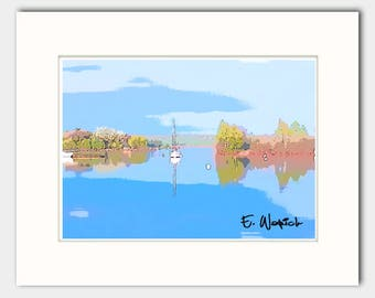 Blue digital line art, giclee print, boat art, minimalist art, limited editon art, boats, calm waters, boat abstract art, art prints, limit