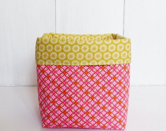/Pochon /panier fabric storage pot geometric neon pink and orange and mustard yellow Suns