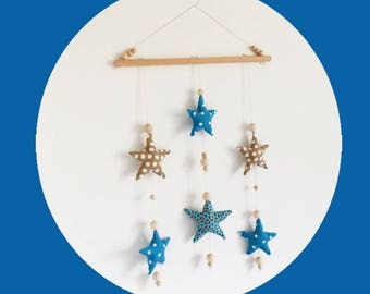 Mobile boy stars fabric petrol blue and beige and raw wood deco beads baby room