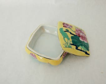 Vintage Asian Trinket Jewelry Box Yellow Lotus