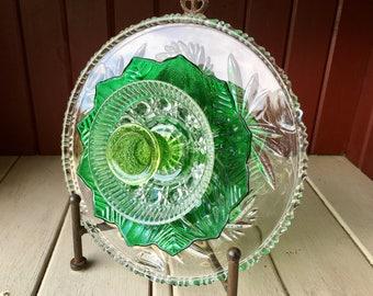 """Repurposed Glass Flower, Sun Catcher Glass Garden Art - """"Kelli"""" Emerald Green Crystal Glass Flower, Made from Glass Plates"""