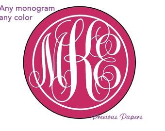 Personalized PRINTED circle monogrammed stickers initial stickers monogram stickers