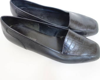 Vintage  Enzo Angiolini Black Butter Soft Leather Loafer Slip Ons, US Womens 8.5, Black Leather Flats