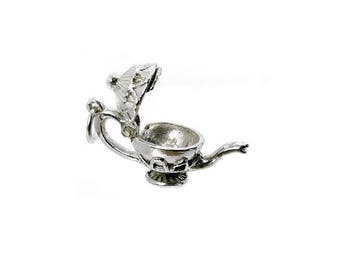 Sterling Silver Opening Teapot Charm For Bracelets
