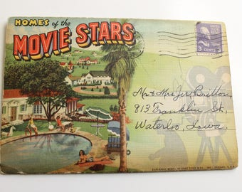 Vintage Homes of the Movie Stars Postcard Book, Foldout Art Cards, Hollywood Glamour 1950's