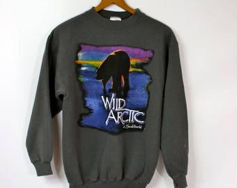Sale Vintage SeaWorld Sweatshirt / 1990's Sweatshirt / Wild Arctic Sweatshirt / Gray Sweatshirt / Polar Bear Sweatshirt S/M