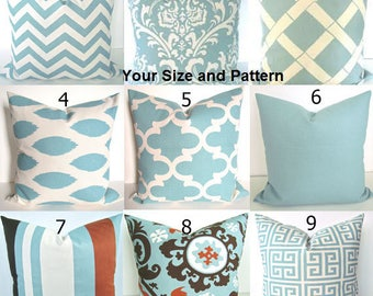 BLUE PILLOWS Blue Throw Pillows Blue Pillow Covers Blue Chevron Pillow Covers .All Sizes. 16 18x18 20 Home Decor Bedding Say it with pillows