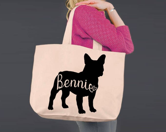 Frenchie | French Bulldog | Tote Bag | Canvas Tote Bag | Beach Tote | Canvas Tote | Shopping Tote | Shopping Bag | Dog Tote | Korena Loves