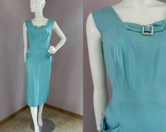 50% Off Closing Shop Sale Vintage 1940's Blue Green Sheath Dress / Sleeveless Nip Waist with Rhinestone Detail / Pockets