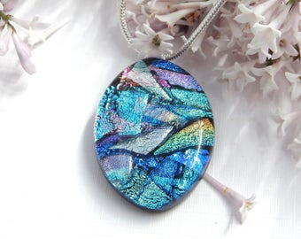Blue Mixed Dichoic Glass Oval Pendant, Fused Glass Jewellery, Multi Blues Art Glass Necklace, Summer Jewellery