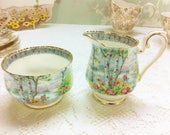 "Royal Albert "" Silver Birch ""  Creamer and Sugar Bowl"