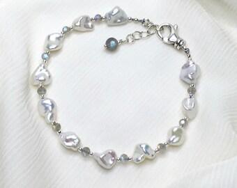 "Freshwater Pearl / Labradorite / Sterling Silver Gemstone Bracelet, Genuine Natural Gemstone, Adjustable 7"" to 7-1/2"""