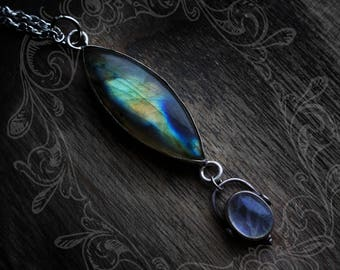 Gaia - vibrantly iridescent sterling silver labradorite and moonstone combination crystal necklace