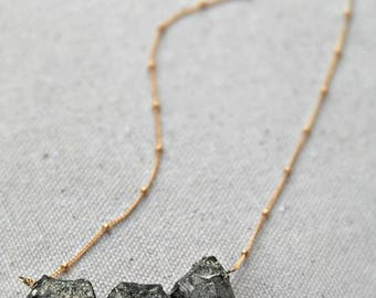 CIJ SALE** fooled... gold pyrite nugget necklace / raw pyrite nuggets & 14k gold filled ball chain / organic / rough