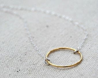 CIJ SALE** choate... mixed metal eternity circle necklace / 14k gold filled circle & sterling silver chain necklace / infinity / eternal ...