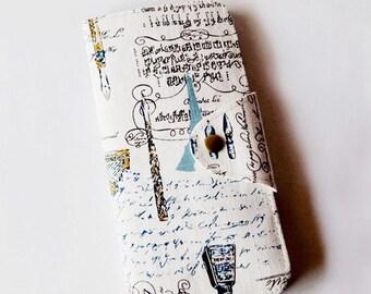 SALE 20% Vintage Fountain Pen Long Passport Wallet, Boarding Pass Holder, Family Passport Wallet