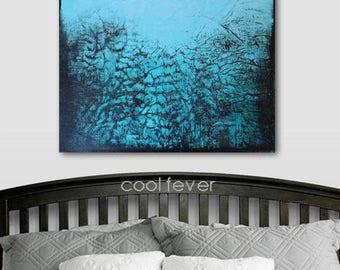 COOL FEVER Original Textured Modern Abstract Blue Art Black Turquoise Artwork Wall Hanging DIY Decorating Interior Bedroom Living Room usa