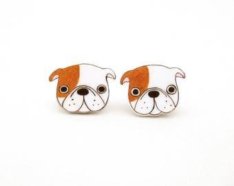 English Bulldog Earrings, English Bulldog Jewelry, English Bulldog Jewellery, Dog Earrings, Dog Jewelry, Dog Jewellery, Shrink Plastic
