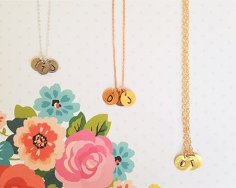 Personalized Initial Letter Necklace - 12mm - Silver, Copper, or Brass, 1 disc with optional add on discs - Charm - Monogram - Mother's Gift