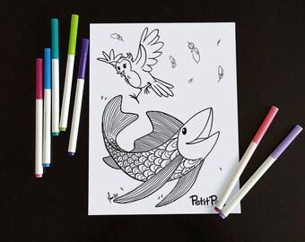 Happy Petit Poisson, downloadable illustration, bird, fish, flying fish, american robin, coloring book, coloring illustration