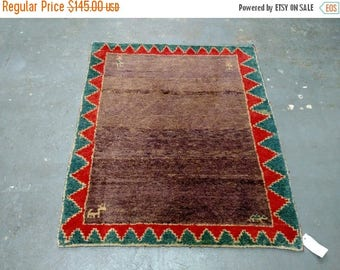 SUMMER CLEARANCE 1980s Vintage Turkish Gabbeh Rug (1533)