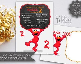 Elmo Chalkboard Birthday Invitation   Elmo Invitations   Elmo Birthday   Printable Elmo Invitation   Elmo Party   Classic Elmo (062)