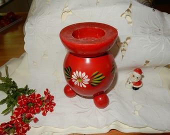 Vintage red Swedish  candle holder / retro