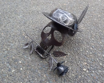 Hand Forged Skull, Rose and Fedora Sculpture. Hand forged by Blacksmith