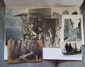 Vintage Photo Pack of UK 10 photos (K), UK United Kingdom scenery, ephemera junk journals scrapbooks smashbook, sepia, black and white