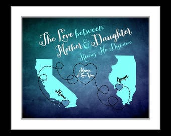 Mother's day gift, for mom, gift for her, two states map, long distance send mothers day gift, far away, mom quote, miss you present